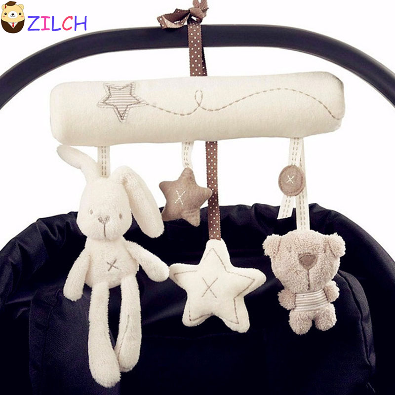 Rabbit Toy Baby 0-12 Months Newborn Baby Mobile Musical Stroller Toys Kids The Bed Bell Bear Plush Stuffed Baby Pulling Ring