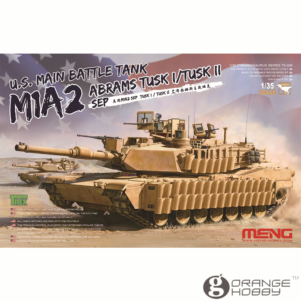 OHS Meng TS026 1/35 US M1A2 Abrams Tusk I/Tusk II Main Battle Tank Assembly Scale AFV Model Building Kits oh ohs tamiya 35326 1 35 u s main battle tank m1a2 sep abrams tusk ii military assembly afv model building kits