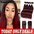 10A Peruvian Virgin Hair with Closure 1b 99j Ombre Hair with Closure 4 bundles with Closure Burgundy Straight Hair with Closure