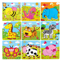Children cartoon Wooden jigsaw puzzle toys DIY Educational toys Multi color Animals Plane puzzles Education Learning
