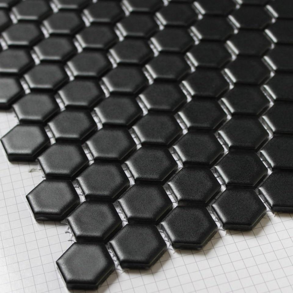 - Black Hexagon Ceramic Mosaic Tiles Kitchen Backsplash Wall