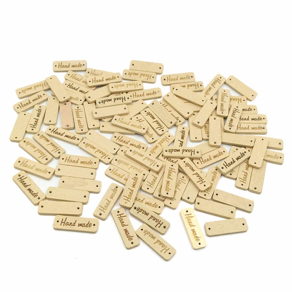 Надпись, 2 отверстия, для шитья, скрапбукинга, 30 мм, деревянные украшения, рукоделие, ремесло, префект, 50 шт., деревянный цвет, деревянный «Ручная работа»