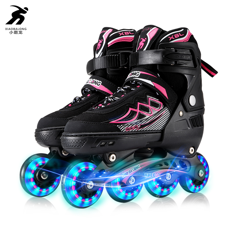 Toy Sports Teenagers Inline Skate Roller Skating Shoes With Helmet Knee Protector Adjustable Flashing Wheels Patines цена