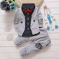 BibiCola Coreano Conjuntos de Roupas de Bebê Menino meninas crianças Bow tie Camisetas vidros dos desenhos animados + calças de algodão crianças cardigan duas peças terno