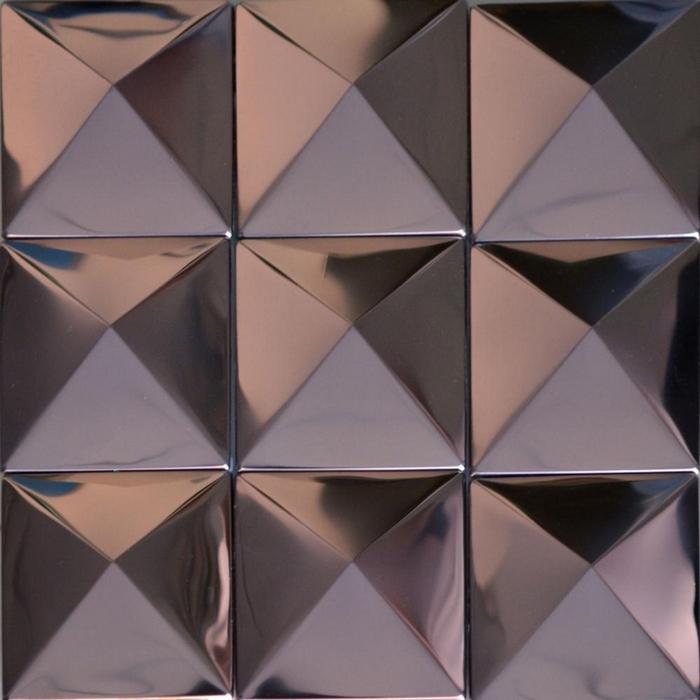 pirmide de color prpura patrn de acero inoxidable metal mosaico azulejo de la cocina backsplash azulejos