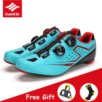 Santic Breathable Men Bicycle Cycling Shoes with Carbon Fiber Outsole Professional Self-locking Athletic Road Bike Riding Shoes