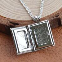 10Pcs Lot Women Men 925 Sterling Silver Book Box Photo Locket Pendant Necklace Silver Metal Alloy
