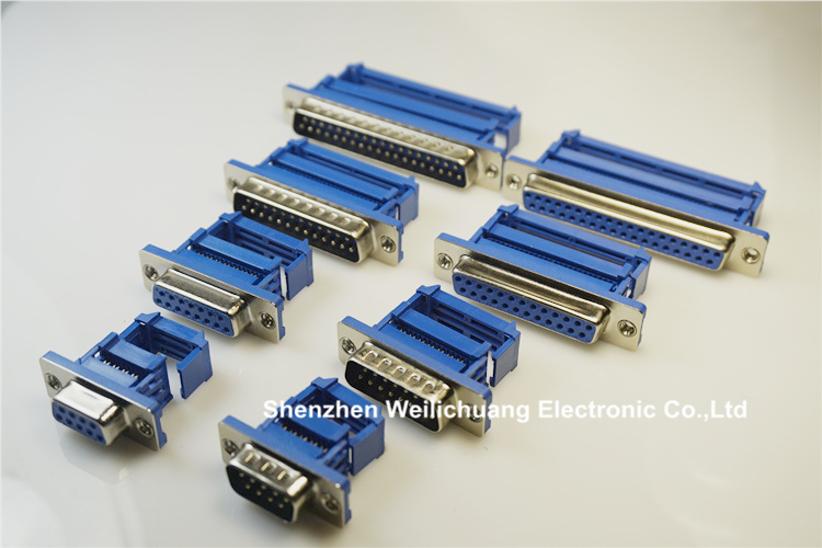 500pcs D-sub connector IDC type 9 Pin 15 Pin 25 Pin 37 Pin Male / Female Flat Ribbon Cable 1.27 mm Pitch Connector