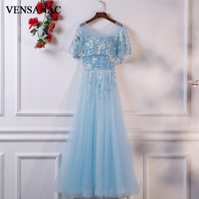 VENSANAC O Neck Flowers Embroidery A Line Long Evening Dresses 2018 Vintage Lace Appliques Party Tulle Prom Gowns