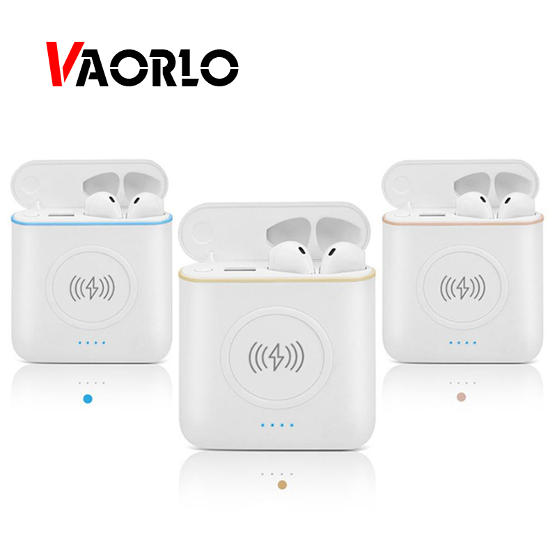 VAORLO TWS Wireless Earphones Stereo Bluetooth Earbud Headset Handsfree With Charging Box Wireless Charger Power Bank For Mobile