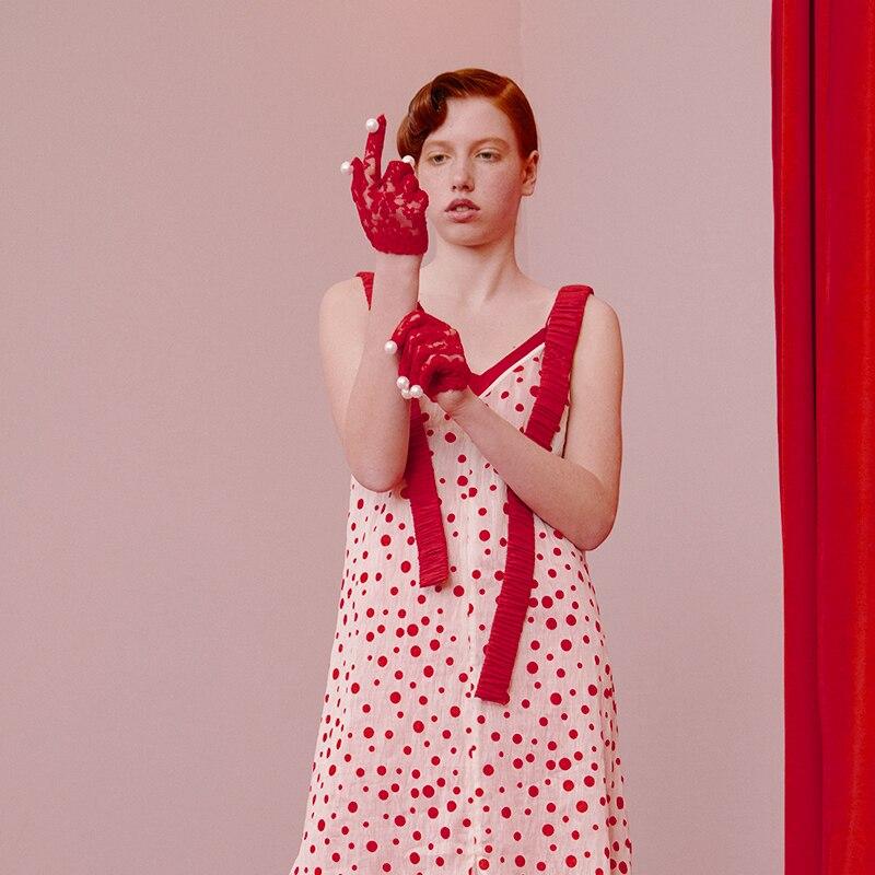 Polka Weiß Dot Design Kleider Original Mode Chinoiserie Lynette Gurt Frauen Spaghetti Urlaub Sommer R8tq0Oxw7