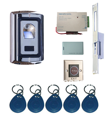 Complete One Door Biometric Fingerprint Access Control System Kit with Long Plate Strike biometric fingerprint access controller tcp ip fingerprint door access control reader