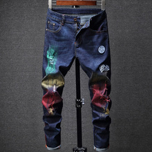 2019 New European American Fashion Men's Jeans Blue Color Embroidery Punk Jeans Colorful Printed Pants Hip Hop Ripped Jeans Men