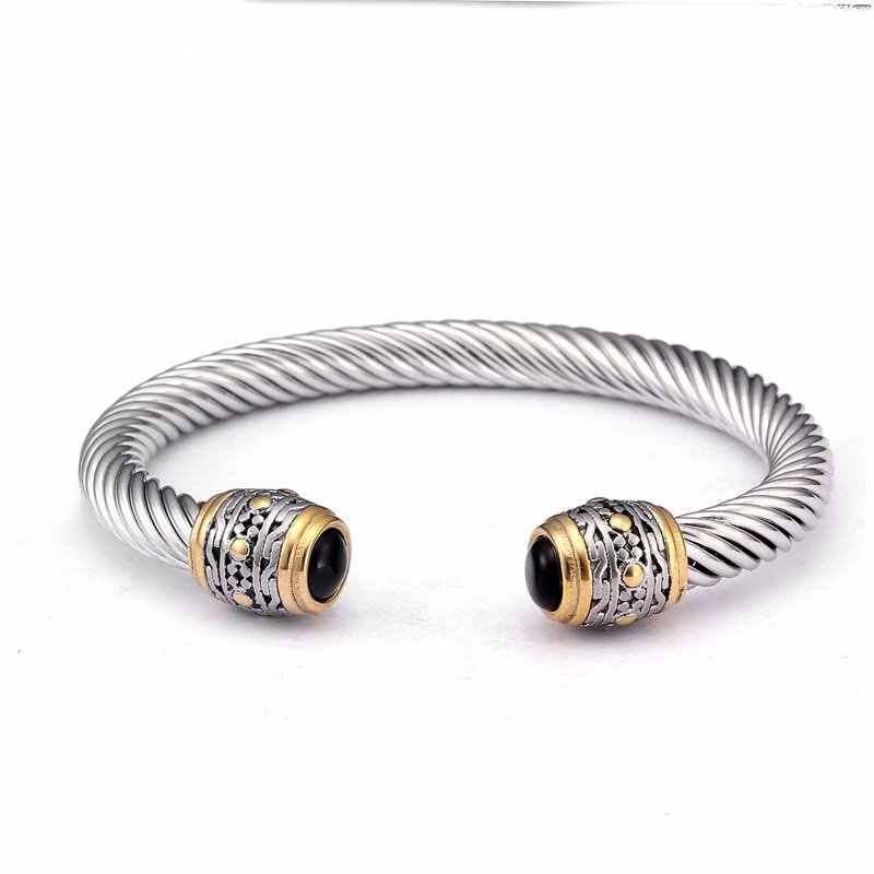Vintage Braided Open Fashion Cuff Bangles For Men Male Jewelry Ancient Stainless Steel Sporty Charm Bracelets Bangles