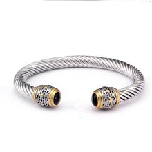 hot deal buy vintage braided open fashion cuff bangles for men male jewelry ancient stainless steel sporty charm bracelets bangles