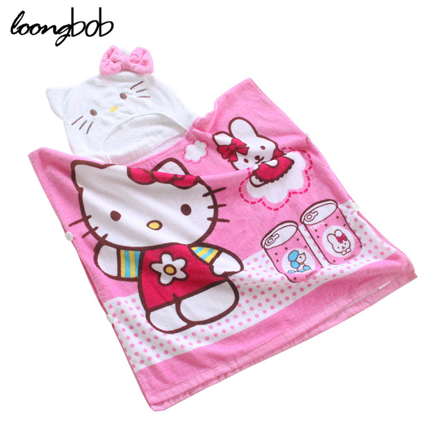 3-5 idades crianças bath towel enfants meninos meninas hello kitty desenhos animados do coelho poncho toalhas cute baby girl roupões 004f