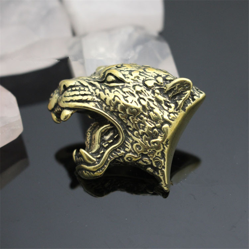 Knife Beads Roar Lion Manual Leather Goods Accessories Pure Brass Lion Head Decorative Buckle EDC Multi Tools