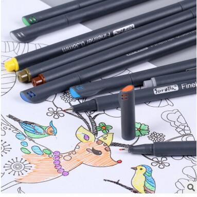 12/24 Colors Needle Pens Professional Design Drawing Hook Line Signature Gel Pen maker pen Student Gift School Office Supplies