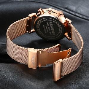 Image 4 - 2019 Mens Watches GUANQIN Top Brand Luxury Luminous Clock Men Business Full Steel Creative Quartz Wrist Watch Relogio Masculino