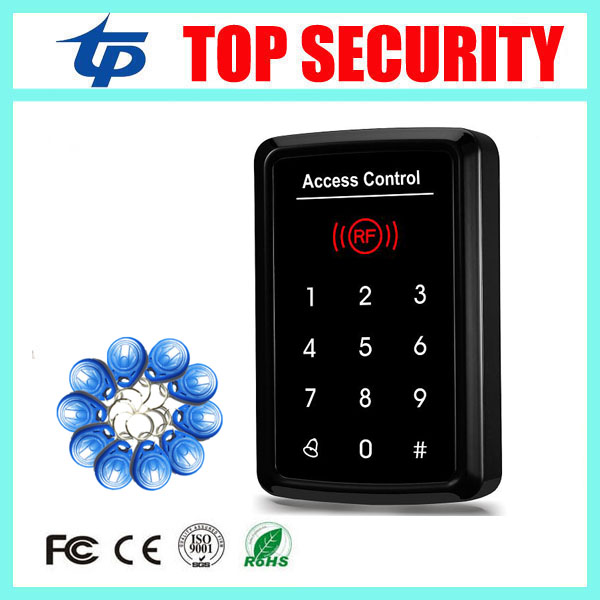 Free shipping 125KHZ smart card access control system touch keypad password door control card reader with 10pcs RFID card key good quality smart rfid card door access control reader touch waterproof keypad 125khz id card single door access controller