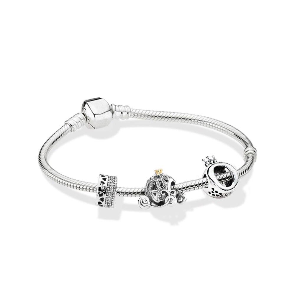 Authentic 925 Sterling Silver Original Romantic love Europe Bracelet Clear CZ Set Fit Women Bangle Bead