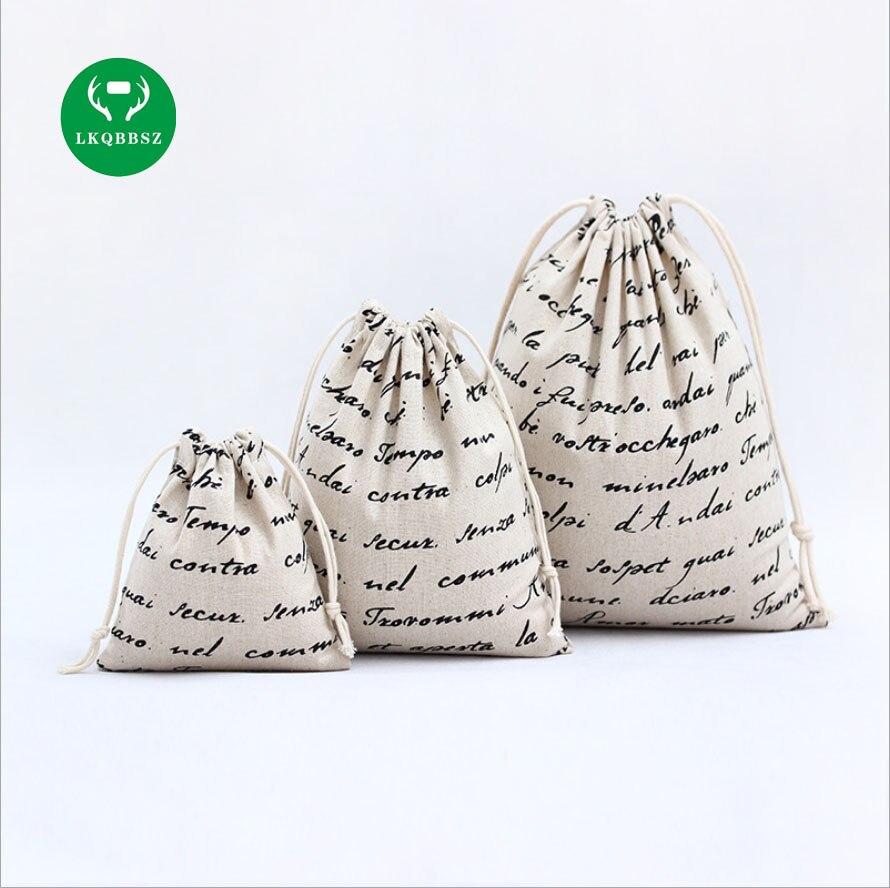 LKQBBSZ Solid Plain Canvas Storage Bag Eco-Friendly Shopping Tea candy smoking Package Drawstring Bag Small Cloth Bag Gift