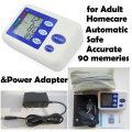Automatic Digital arm Blood Pressure Monitor Heart Beat Meter data Capacity Hypertension Homecare with power adaper