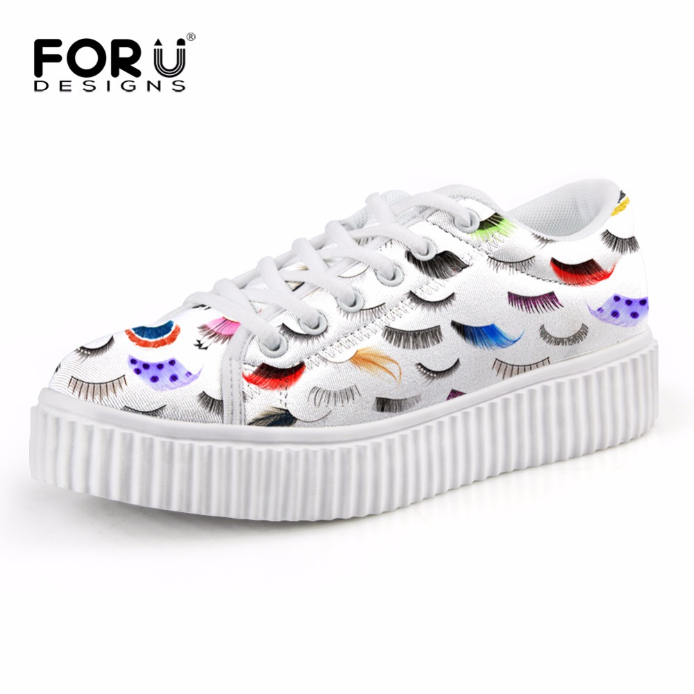 FORUDESIGNS Fashion Women Flat Platform Shoes Cute Eyelash Printed Women's Casual Creepers Shoes Height Increasing Shoes Flats forudesigns women casual sneaker cartoon cute nurse printed flats fashion women s summer comfortable breathable girls flat shoes