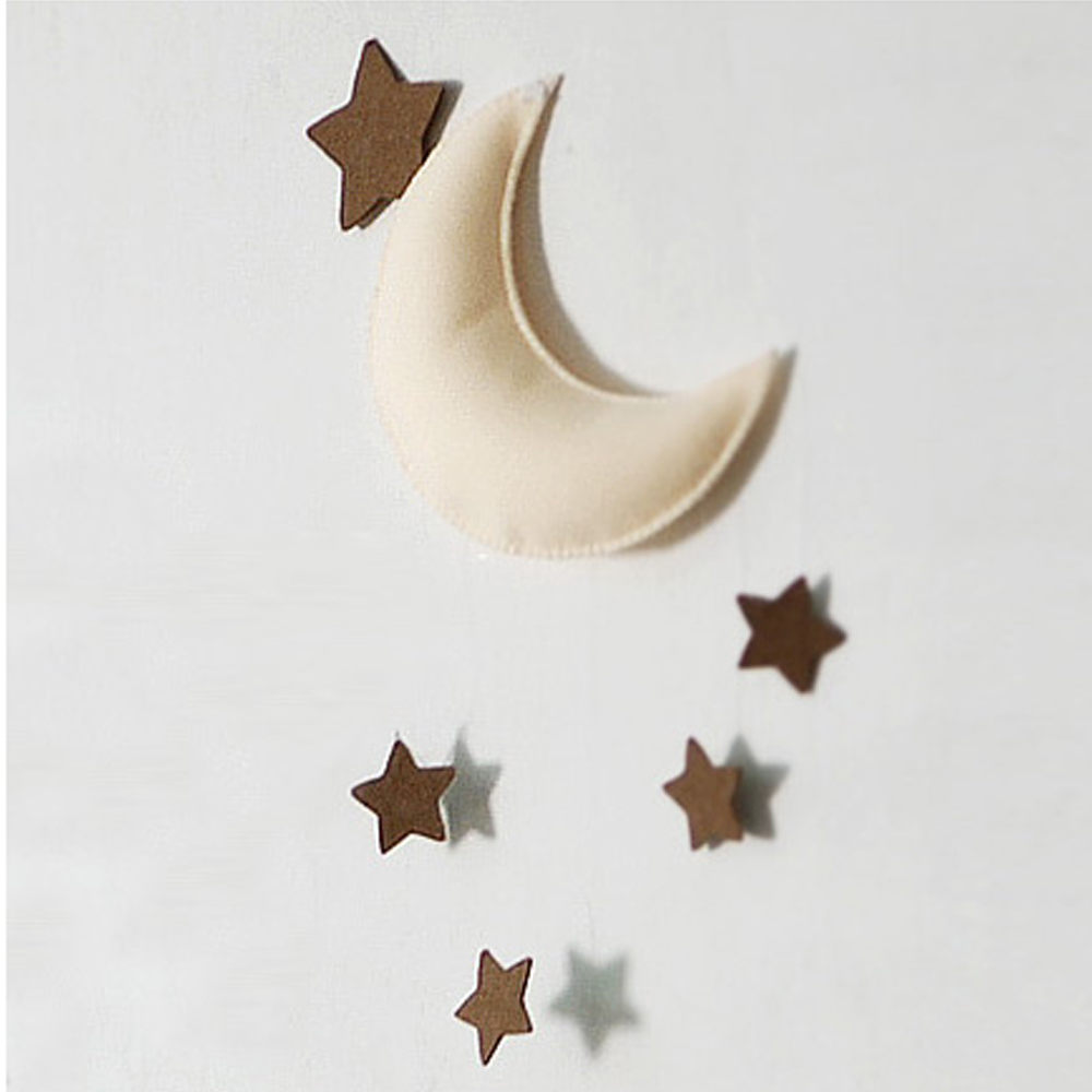 Pinjeas baby mobile moon star neutral crib hanging mobile for Room decor etsy