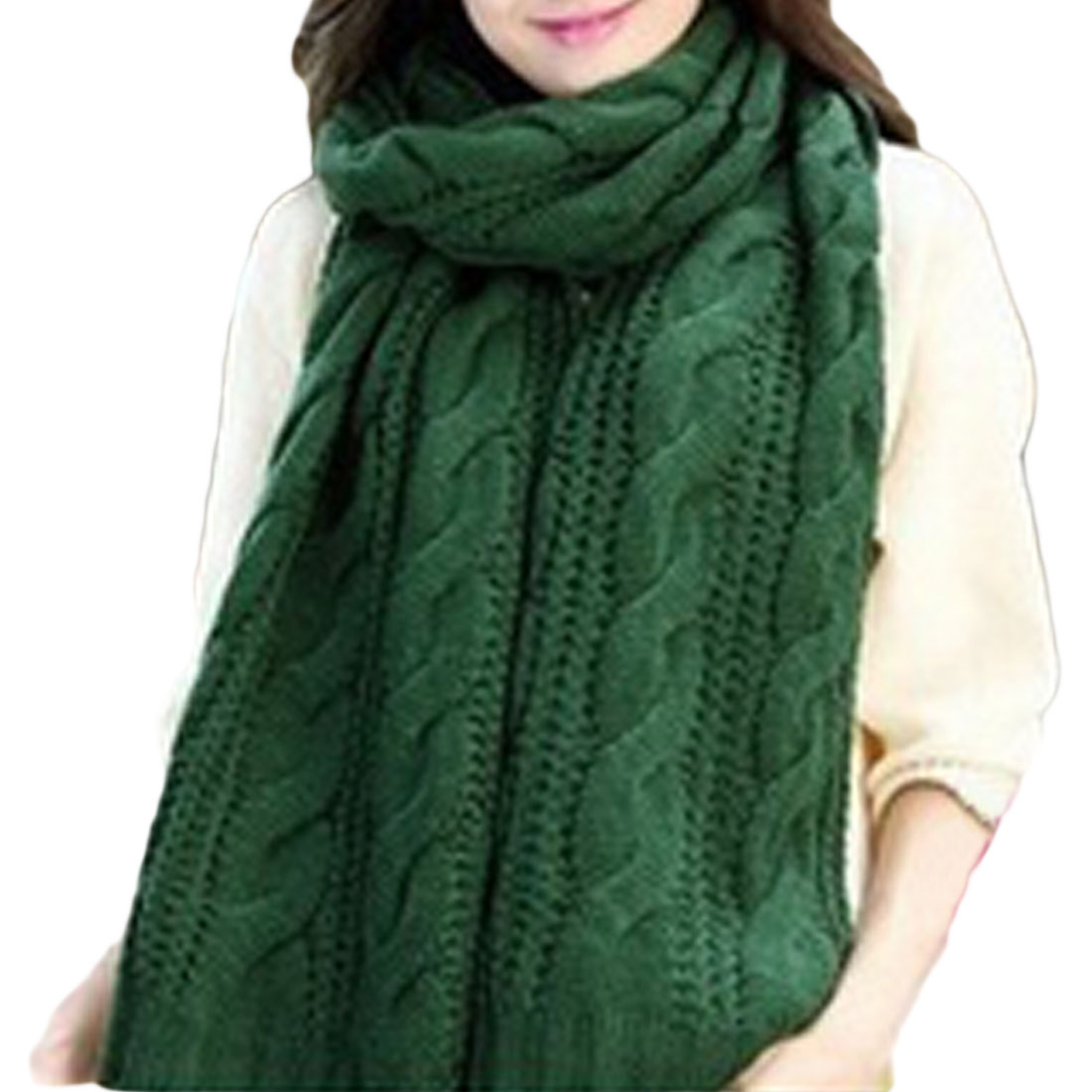 Charming Circle Cable Crochet Knit Scarf Shawl Wrap Winter Warm Cowl Neck Ginger Yellow knitting