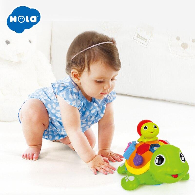 HOLA 868 Parent-enfant tortue Interactive B/O électrique Animal Puzzle tortue bambin ramper bébé jouets pour 6M + - 3