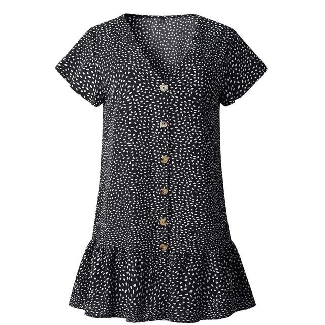 Women Button Printing Ruffles V Neck Sleeveless Mini Party Spaghetti Strap Dress