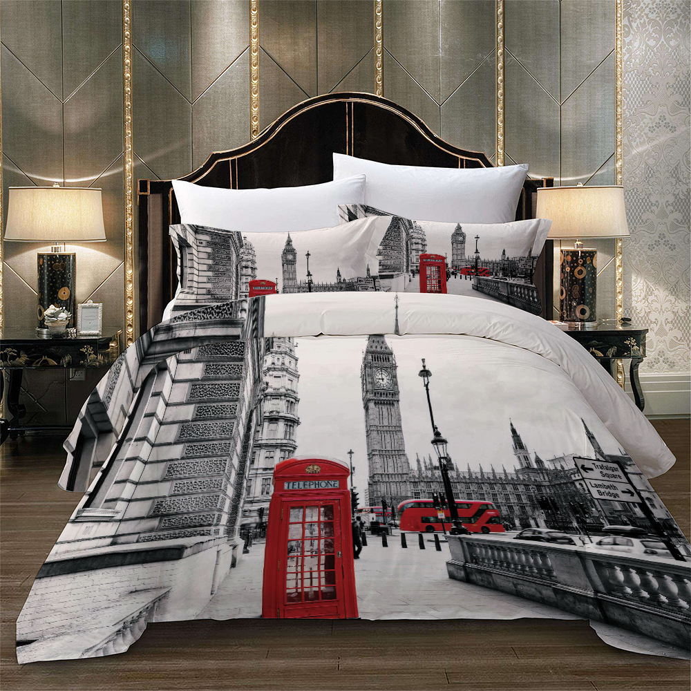 Free Shipping London City Scenery Big Ben Red Telephone Booth Bus Print Bedding Set Quilt Duvet Cover+Pillow Case US AU EU Size