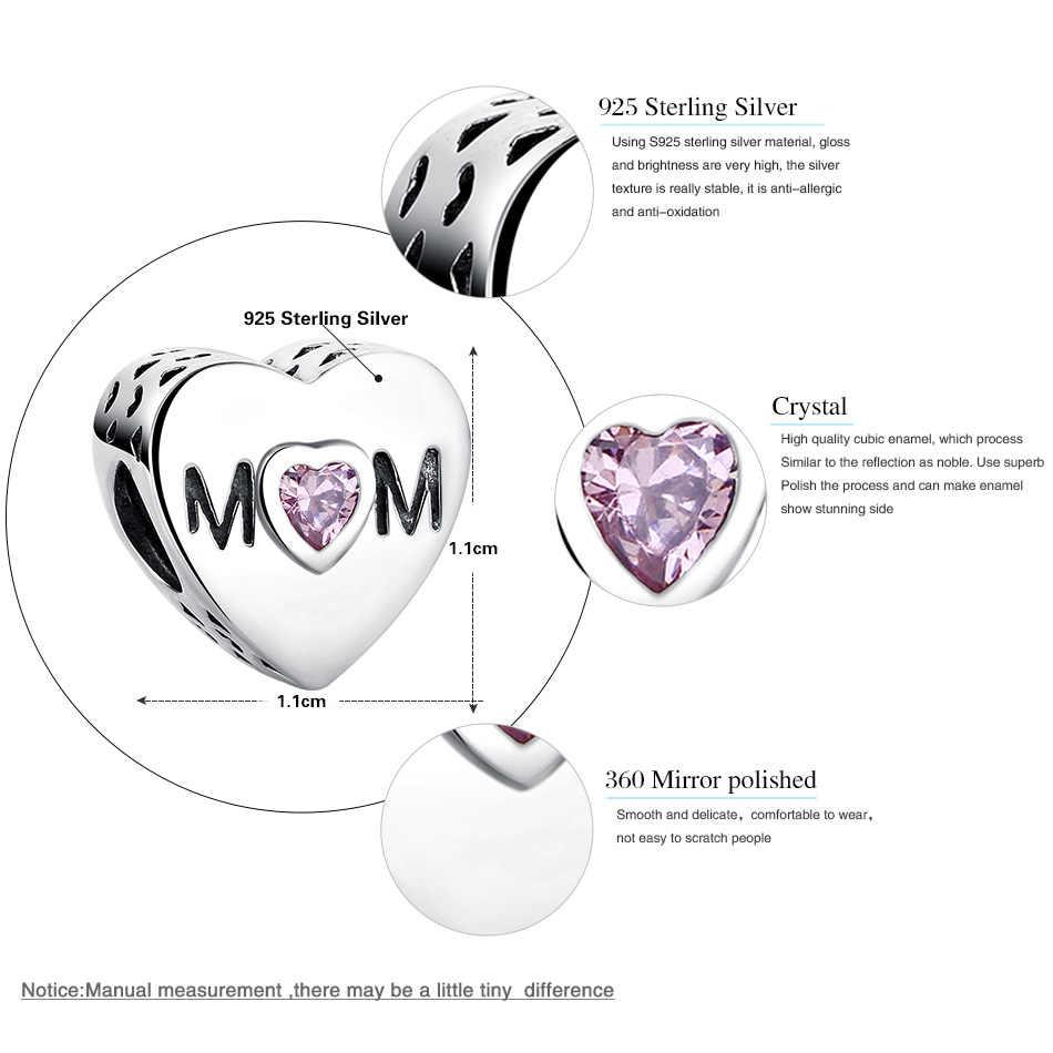 FOREWE подлинный 100% 925 пробы Серебряный сердечко для мамы с буквенным принтом CZ Шарм Подходит Pandora браслет DIY ювелирные изделия подарок для матери