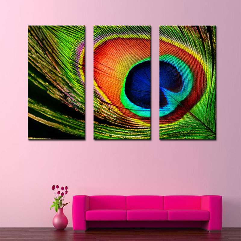 3 Picture Combination Modern Canvas Painting Wall Art Beautiful Peacock  Feather Picture Prints On Canvas Artworks For Home Decor In Painting U0026  Calligraphy ...