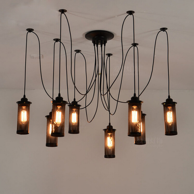 American Industrial Vintage Loft Style Chandelier Wrought Iron Net Shape Lamp Living Room Bars Decoration Light Free Shipping american countryside industrial vintage loft wrought iron net water pipe wall lamp cafe bars balcony retro light free shipping