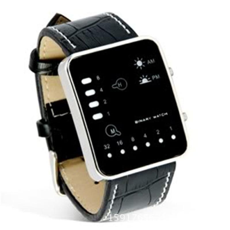 Fashion Relogios Masculine Digital Red LED Sport Wrist Watch Binary Wristwatch PU Leather Women Mens Clock Hot High Quality