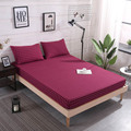 Washed Cotton Mattress Cover with Elastic Band Stripe Bed Sheet Mattress Protector Pad Fitted Sheet Bedding Linens Home Textile