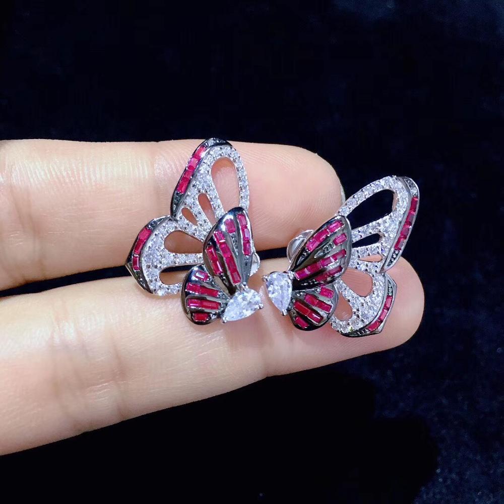 925 argent sterling avec zircon cubique papillon boucle d'oreille 1 style est égal à 2 styles insecte boucle d'oreille mode bijoux fille