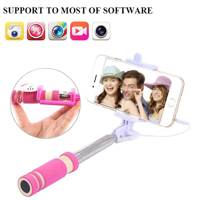 Wired Selfie Stick For iPhone 6 6S For Xiaomi Huawei Samsung Monopod Stick For Selfie Foldable Portable Selfiestick