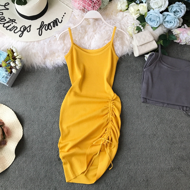 Drawstring Pleated Sexy Strapless Irregular Short Knit Dress Women Summer Solid Color Casual Vestidos F553