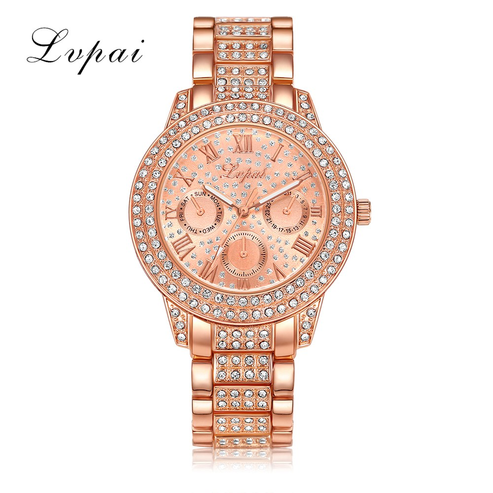 Lvpai Women Brand Luxury Watches Women Fashion Crystals Dress Watch Rose Gold Bangle Bracelet Business Wrist Watch 2017 2017 lvpai flower rose gold bracelet watches women fashion casual quartz watch rhinestone wristwatches girls bangle women watch