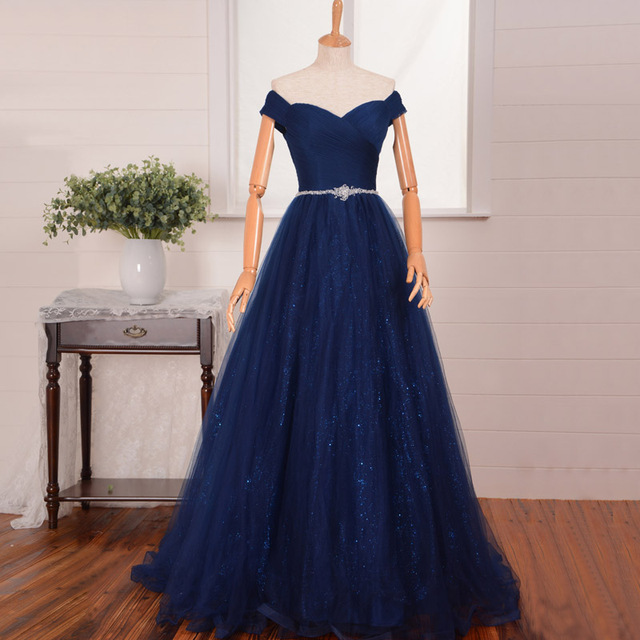 Real Photos A Line Navy Blue Sparkly Prom Gown Evening Dresses