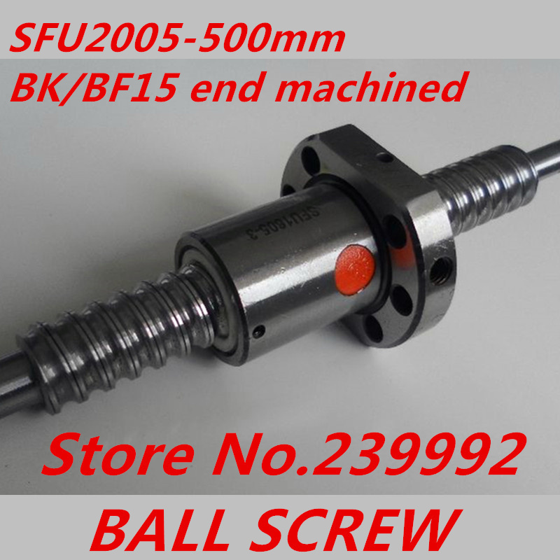 Free shipping SFU2005 500mm Ball Screw L500mm Ballscrews Ball Nut for CNC XYZ with BK BF15