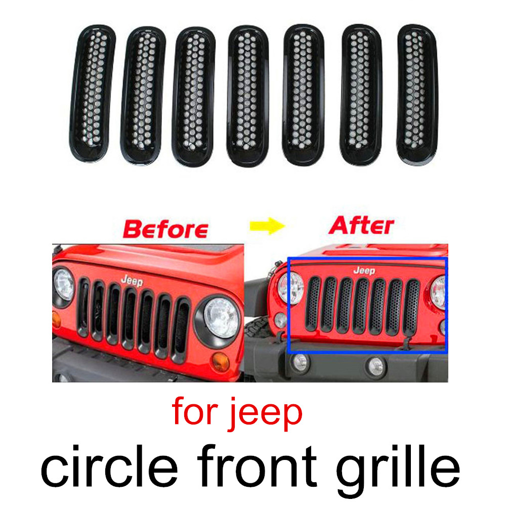 great quality Auto Car Front Insert Mesh Grill Bright Circle Frame Plating 7pcs ABS Grille For Jeep Wrangler without lock hole