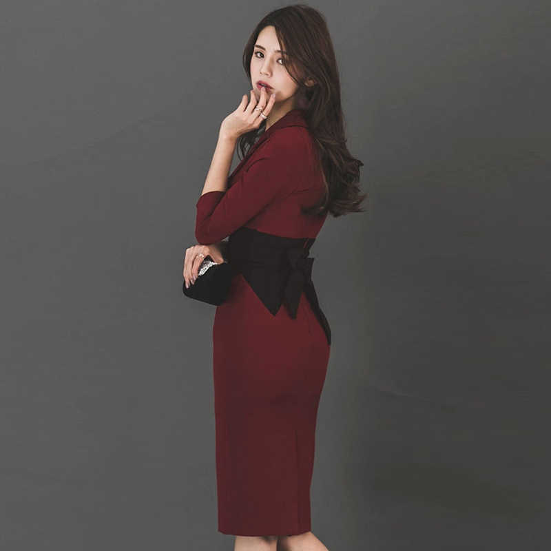 2856b4101f6d6 MingJieBiHuo Fashion elegant slim women dress new arrival autumn korean  party dress OL sexy v-neck comfortable pencil dress