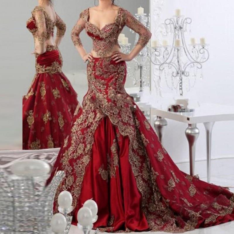 Brand New   Evening     Dresses   Real Picture Arabian   Evening     Dress   Burgundy Robe De Soiree 3D Flowers Long   Evening   Gown Elegant