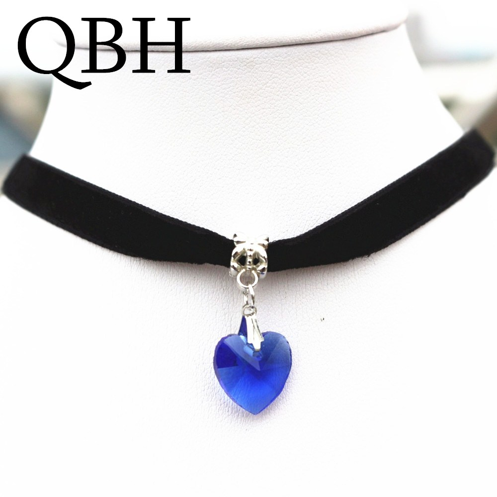 NK2015 Tattoo 7 Colors Simple Crystal Heart Necklaces & Pendants Lace Chokers Necklaces Steampunk Gothic Black Velvet Necklace