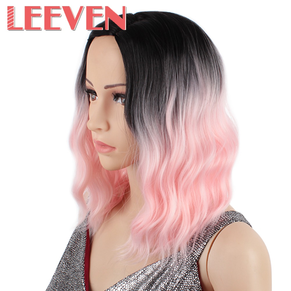 Leeven 12inch Synthetic Hair Wavy Wig Gray Pink Blue Hair