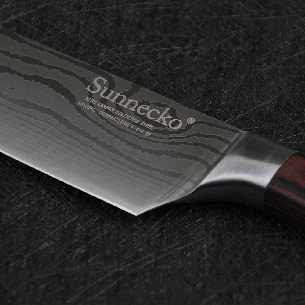 SUNNECKO профессиональный 8 дюймов нож шеф-повара кухонные ножи из нержавеющей стали Шлифовальный лазерный узор Pakka Деревянная Ручка острый резак инструмент